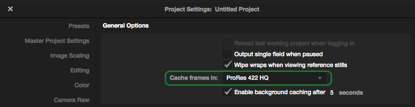 Cache frames in
