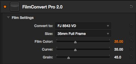 FilmConvert settings