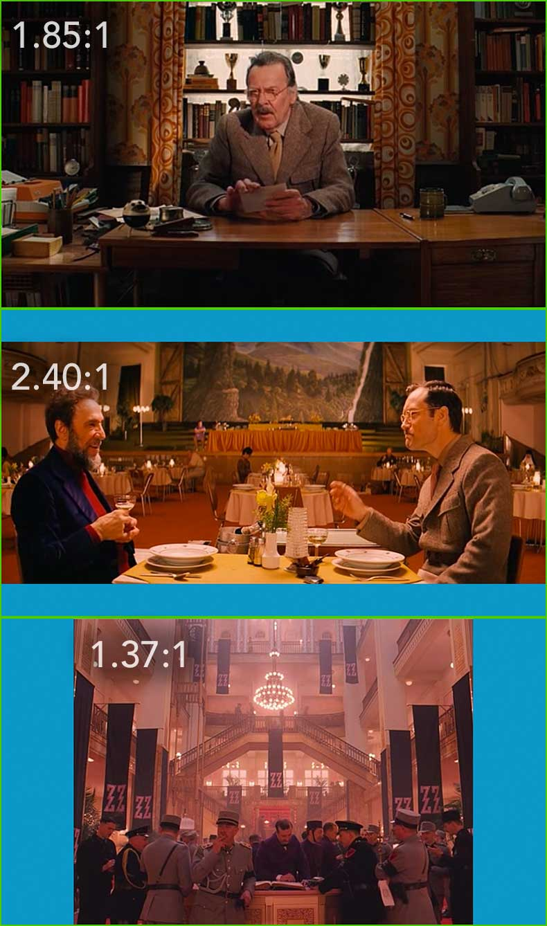 cinematography in grand budapest hotel time in pixels the green border around each frame represents the 1 85 1 ratio each frame size enforces different framing choices but we are going to look at that later